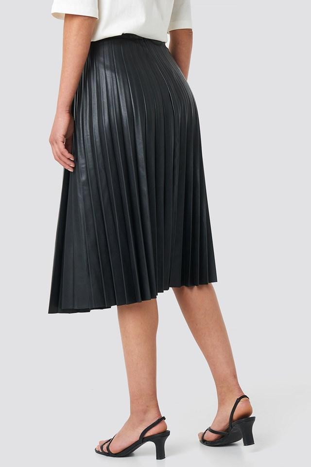 Faux Leather Pleated Midi Skirt Black
