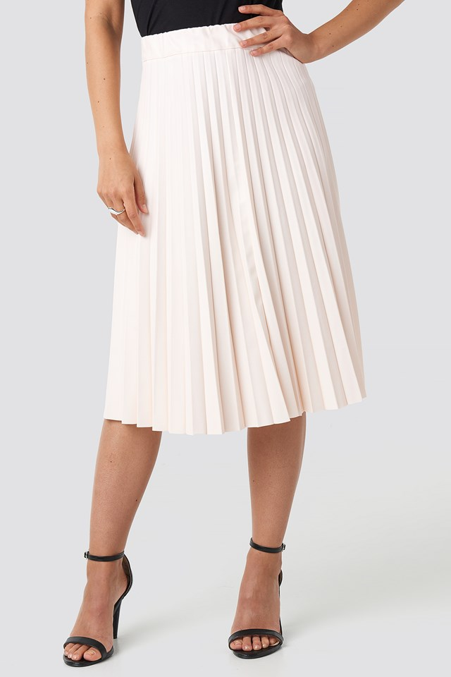 Faux Leather Pleated Midi Skirt Beige