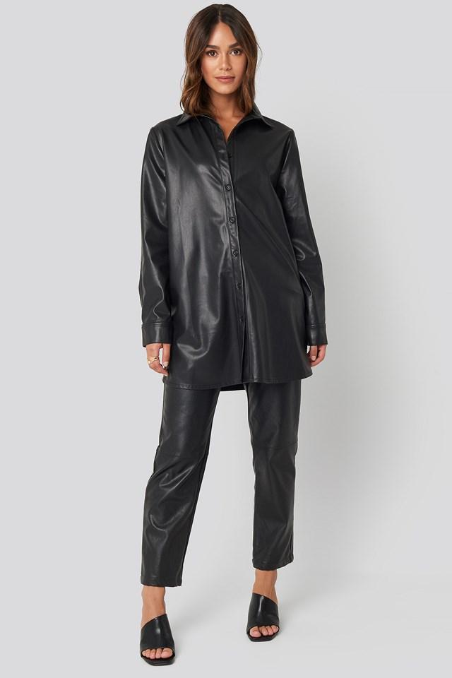 Faux Leather Shirt Black