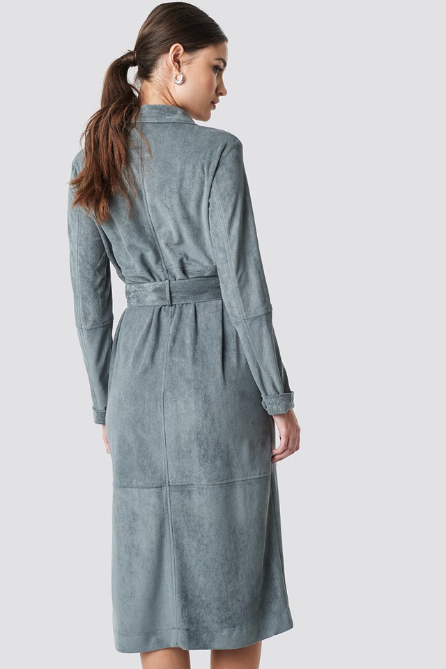 Faux Leather Belted Dress Dark Grey