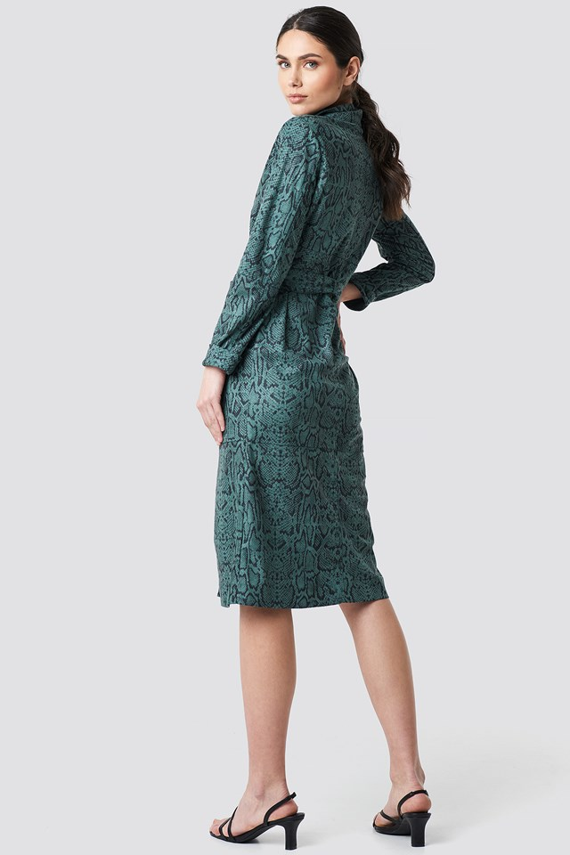 Faux Leather Belted Dress Teal
