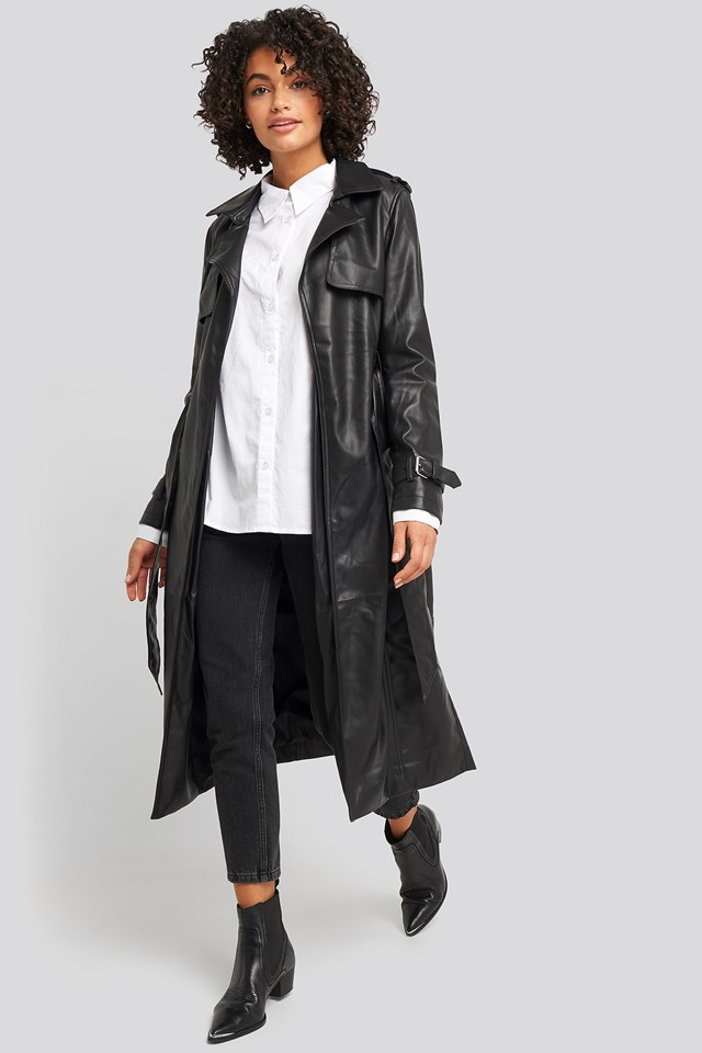 Faux Leather Trenchcoat Black