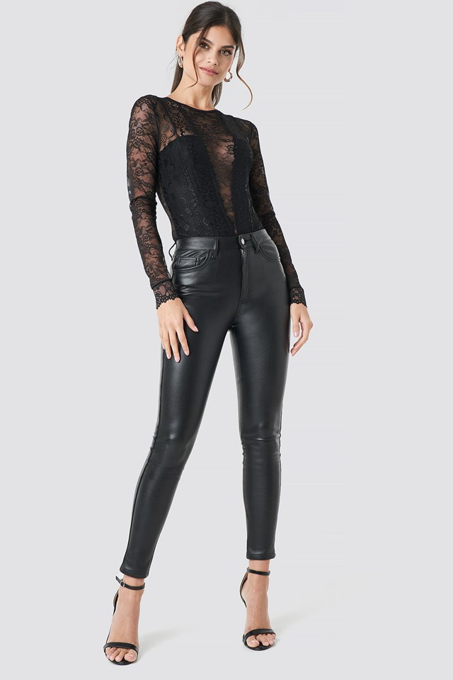 Faux Leather Trousers NA-KD Party