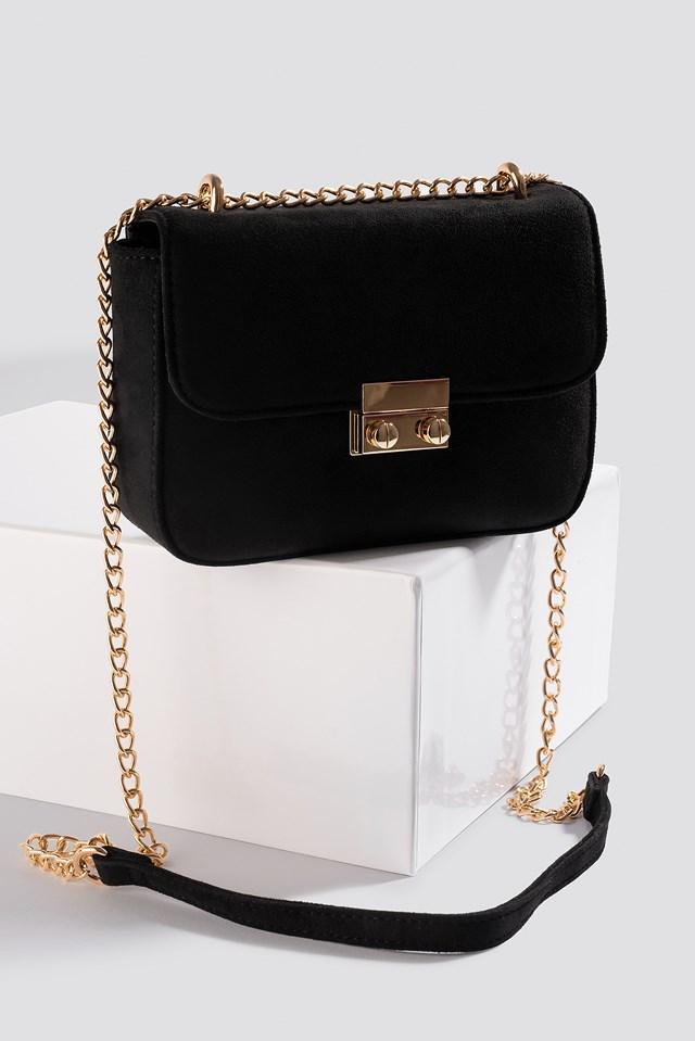 Faux Suede Chain Bag Black