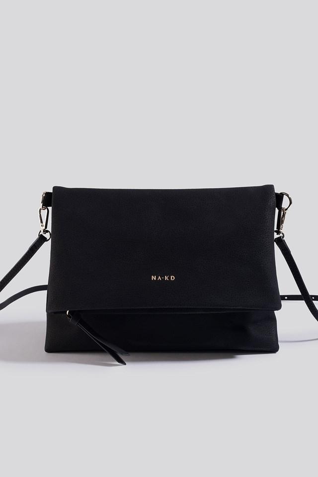 Faux Suede Flap Over Bag Black