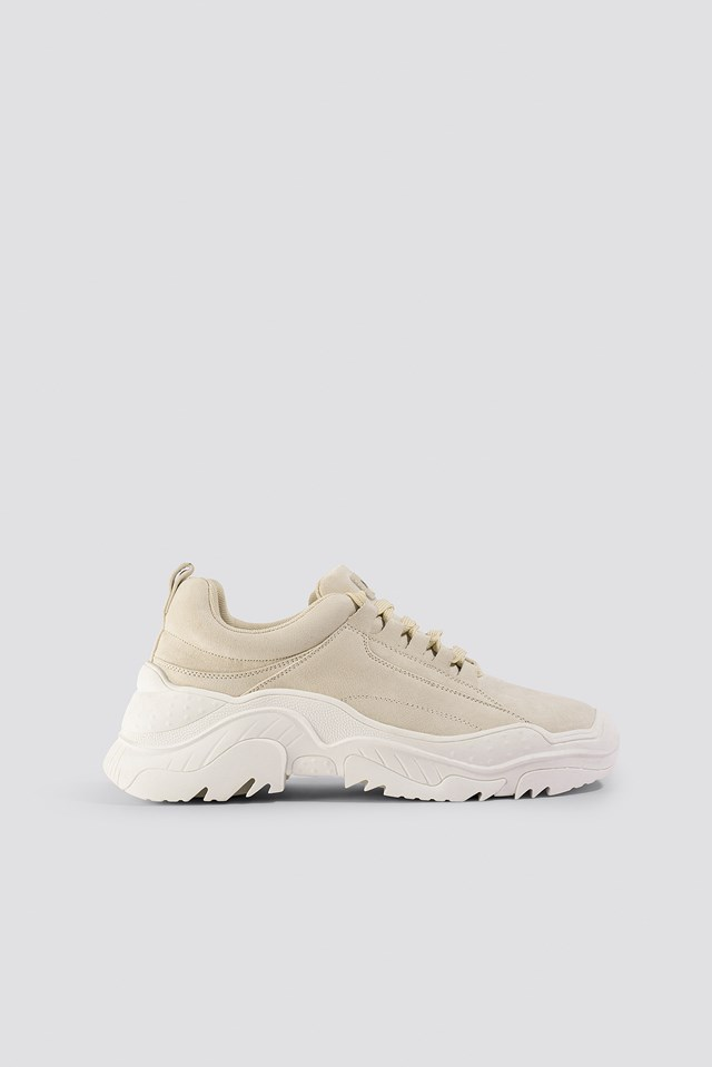 Faux Suede Profile Trainers Beige