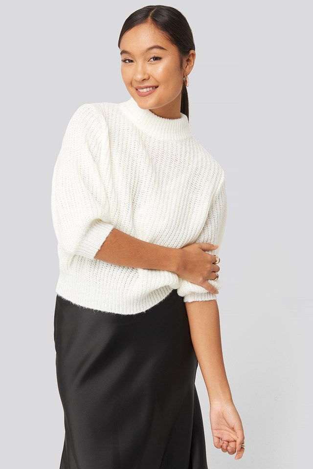 Felicia Wedin Mid Sleeve Knitted Sweater Statement By NA-KD Influencers
