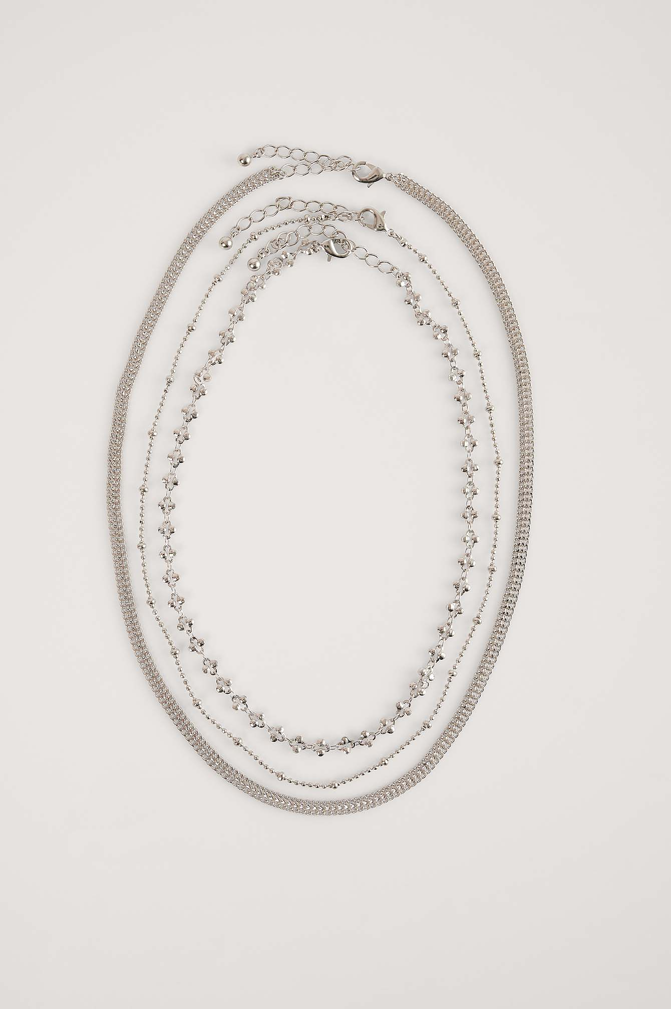 Silver Fine Layered Patterned Necklace