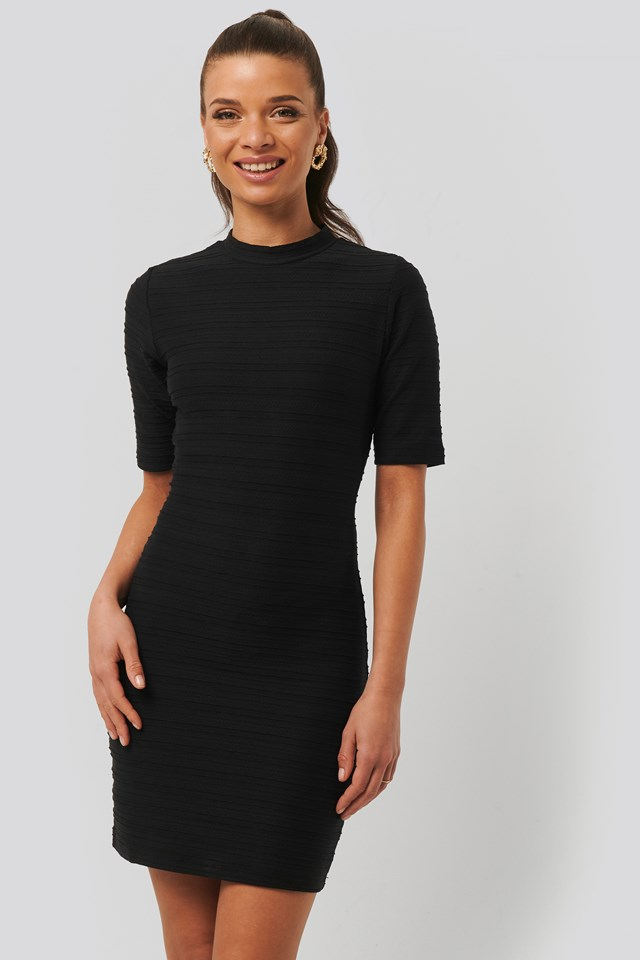 Fitted Jersey Mini Dress Black