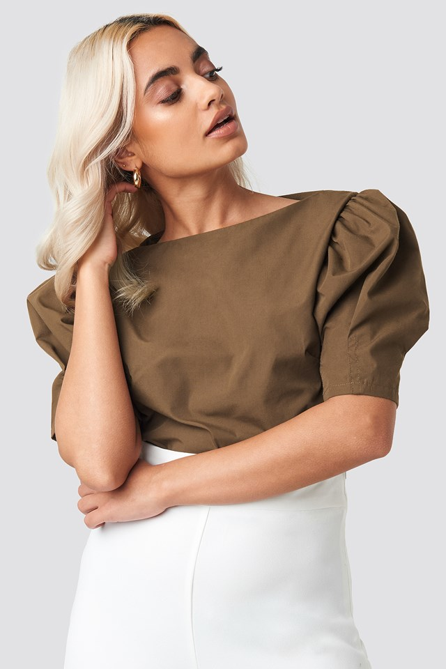 Fitted Puff Sleeve Top Brown