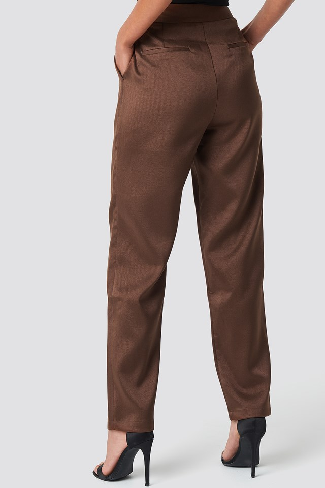 Fitted Suit Pants Brown