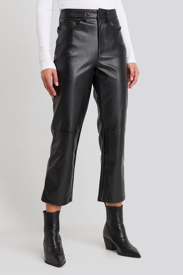 Flared Cropped PU Pants Black