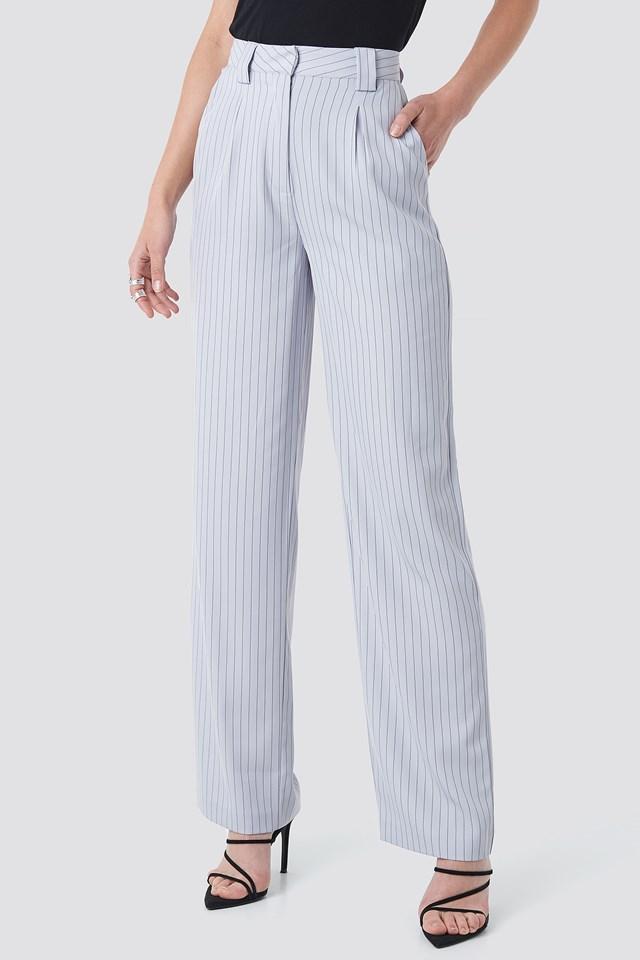 Flared Striped Pants Light Blue