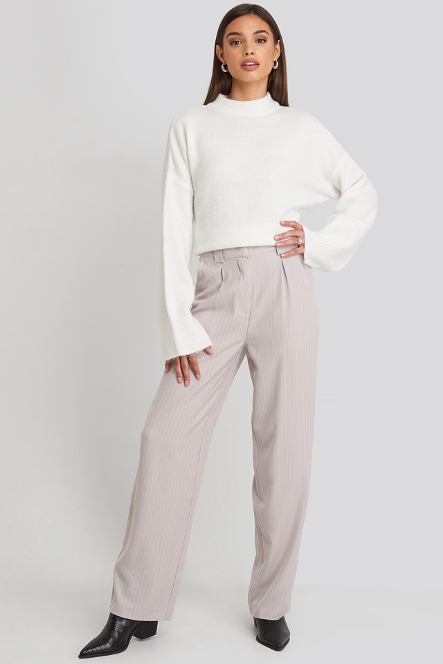 Flared Striped Pants Light Grey