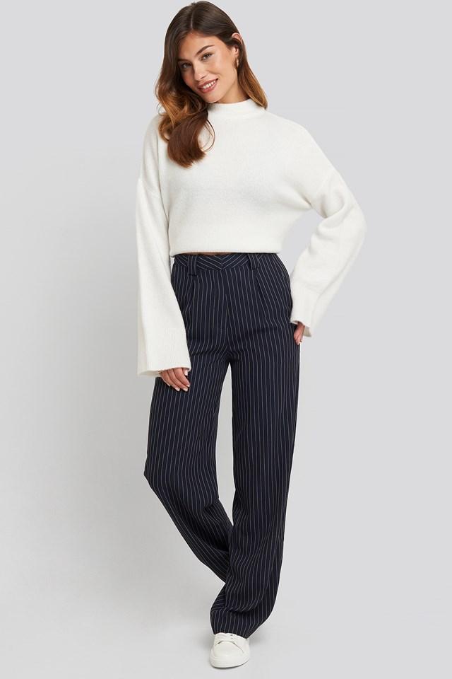 Flared Striped Pants Dark Navy