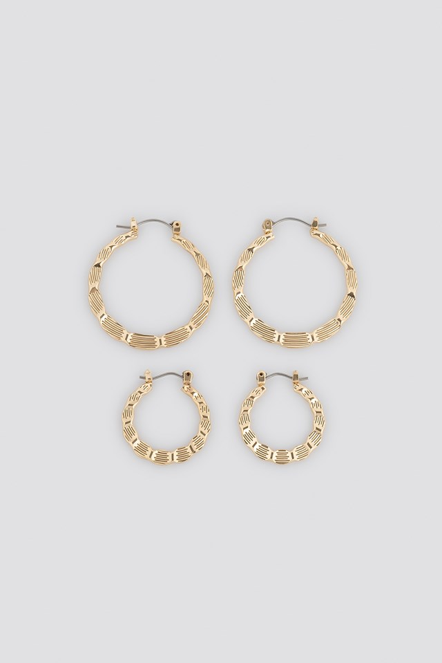 Flat Hammered Hoop Earrings (Double Pack) NA-KD Accessories