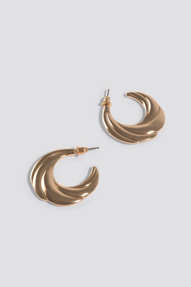Flat Wavy Hoop Earrings Gold