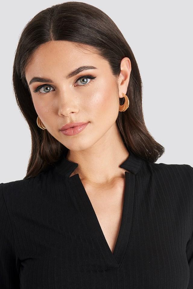 Flat Wavy Hoop Earrings NA-KD Accessories