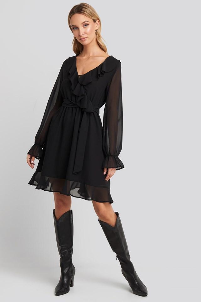 Flounce Chiffon Mini Dress Black