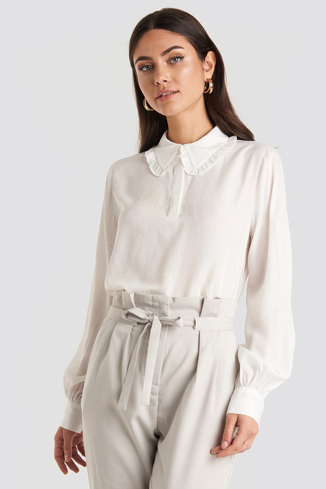 Flounce Collar Blouse White
