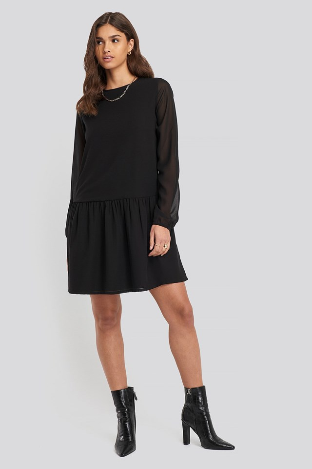 Flounce Detail Chiffon Dress Black
