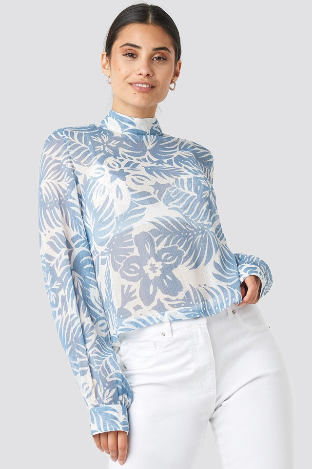 Flower High Neck Blouse Light Blue