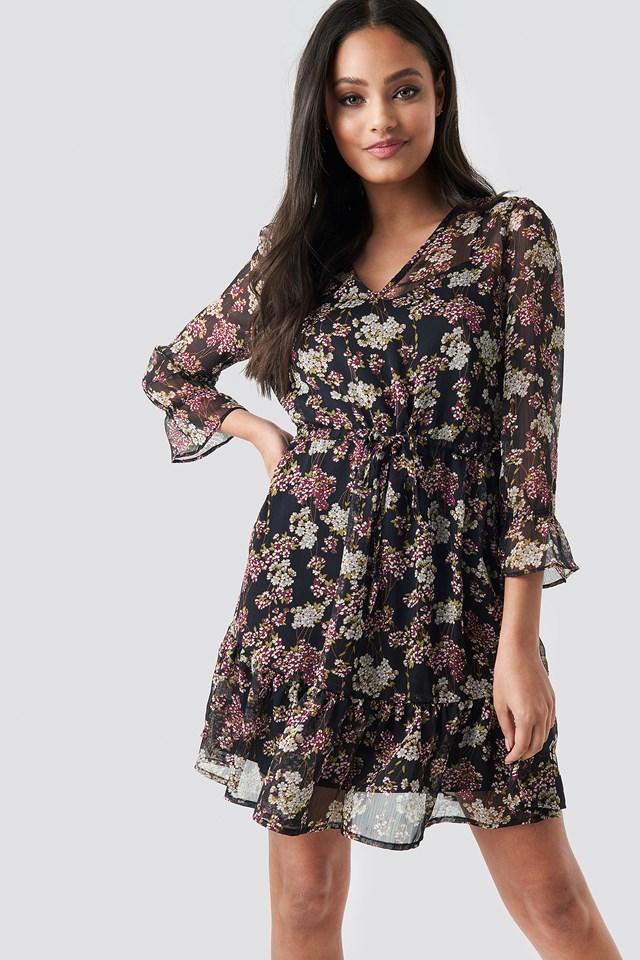 Flower Print Drawstring Chiffon Dress Black