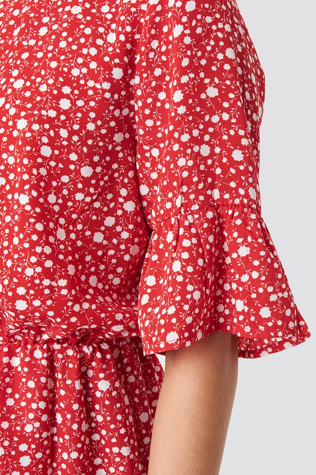Flower Print Frill Playsuit Red Flower