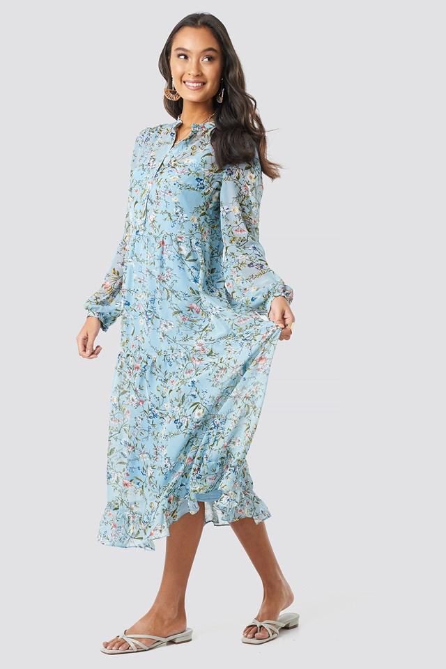 Flower Print Tiered Midi Dress Blue
