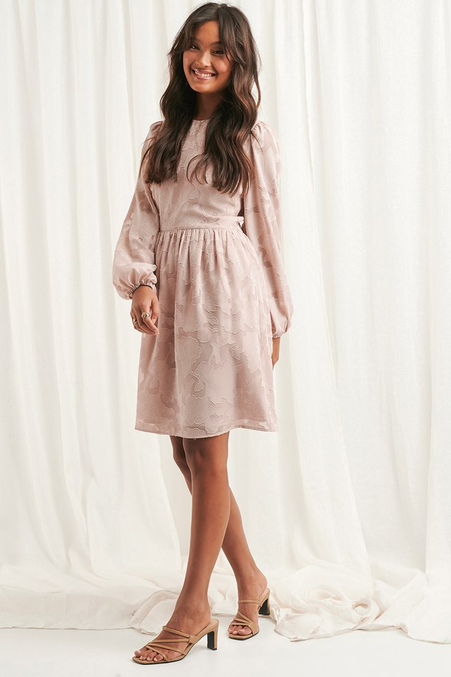 Flowy Flower Applique Dress Dusty Pink
