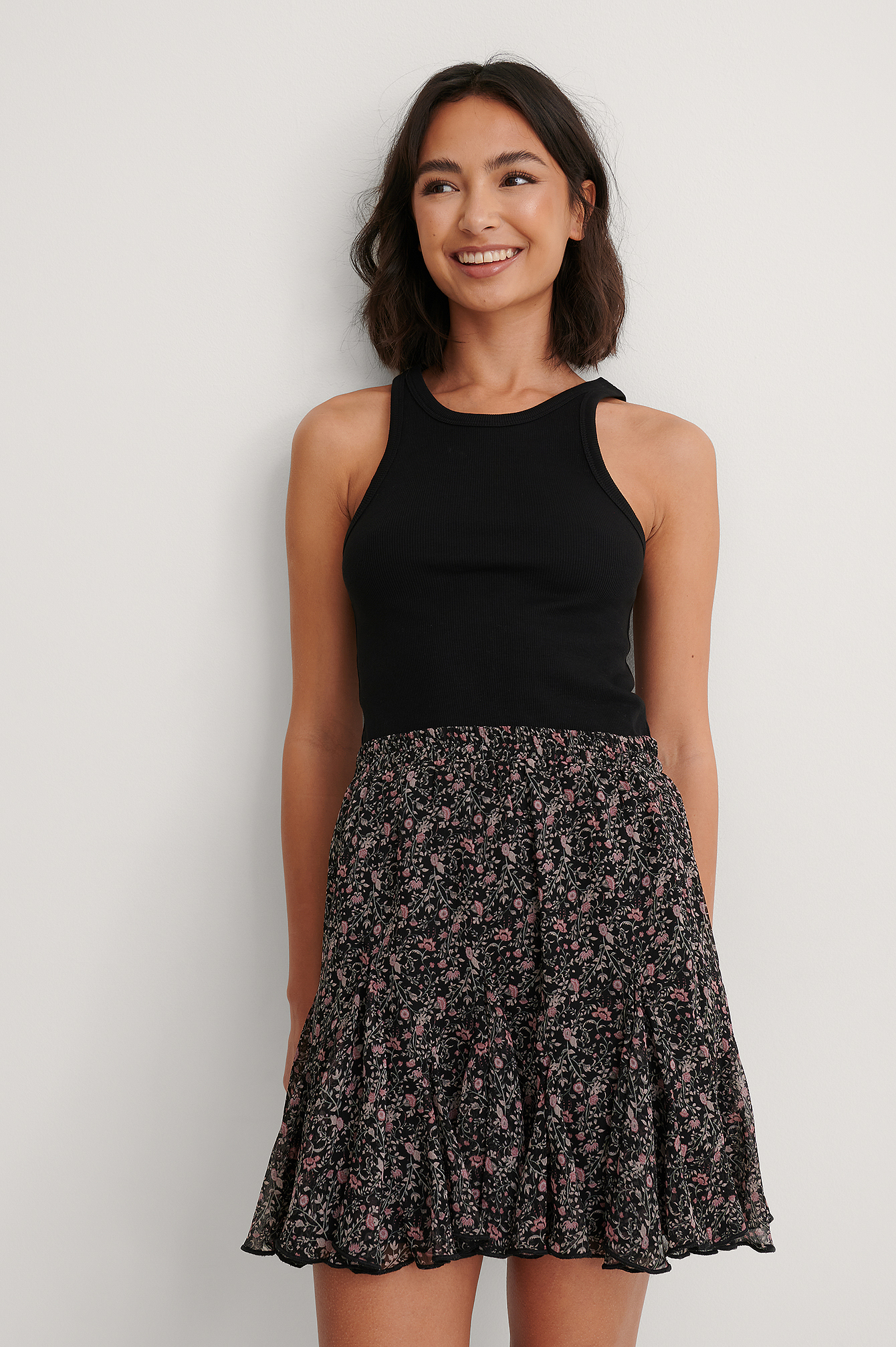 Flower Print Flowy Mini Skirt