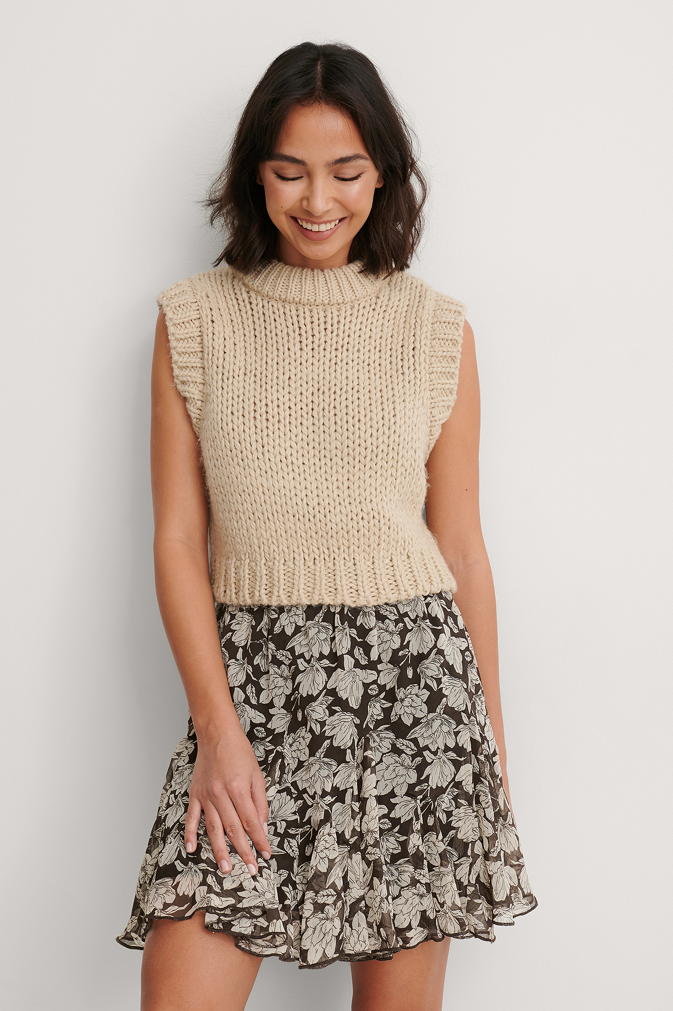 Graphic Magnolia Flowy Mini Skirt