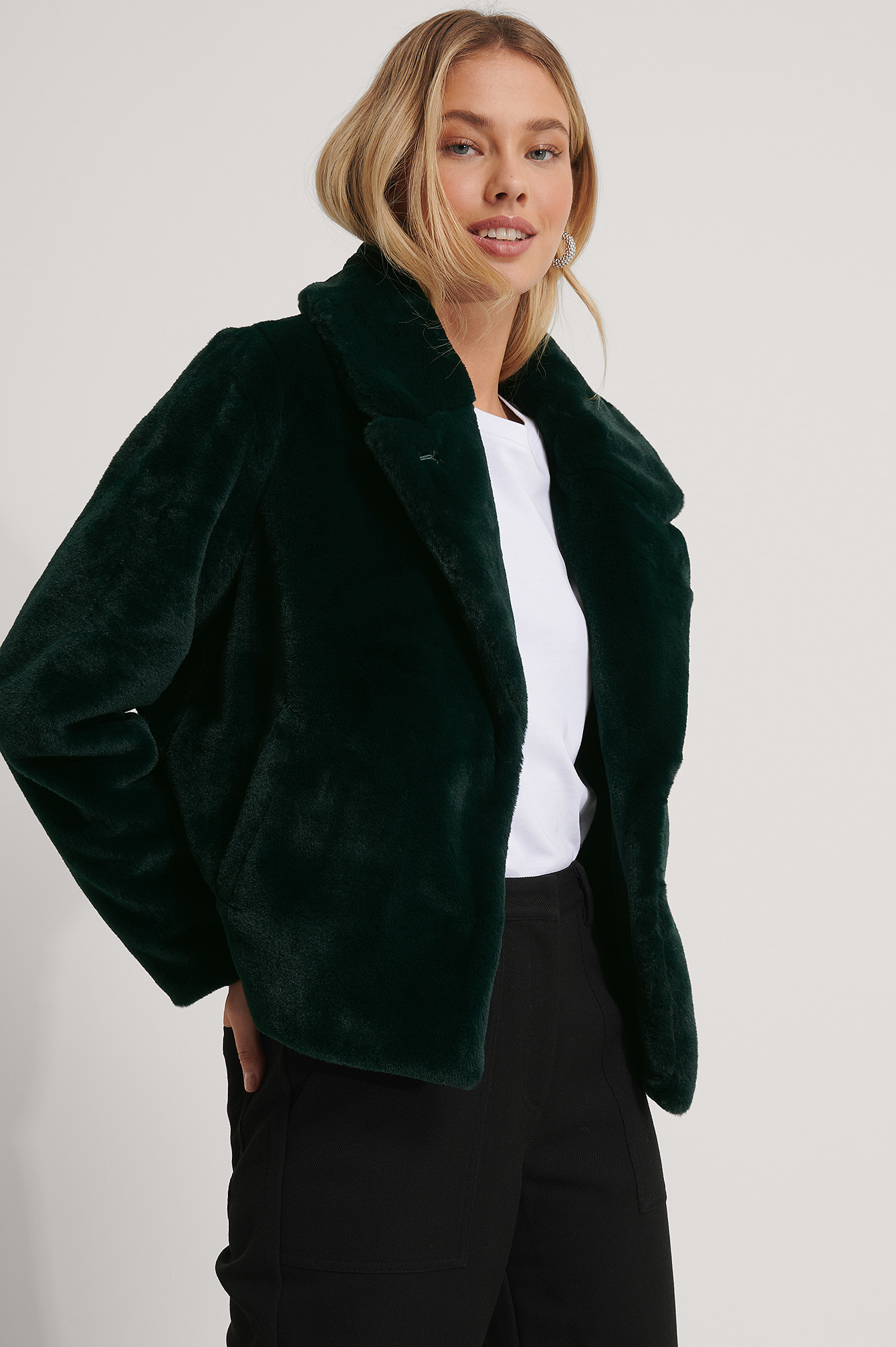 Dark Green Fluffy Faux Fur Jacket