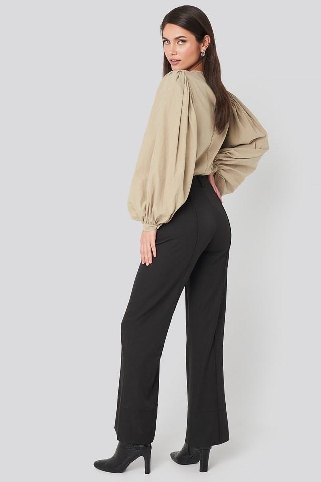 Fold Up Flared Pants Black