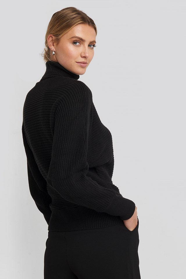 Folded Knitted Sweater Black