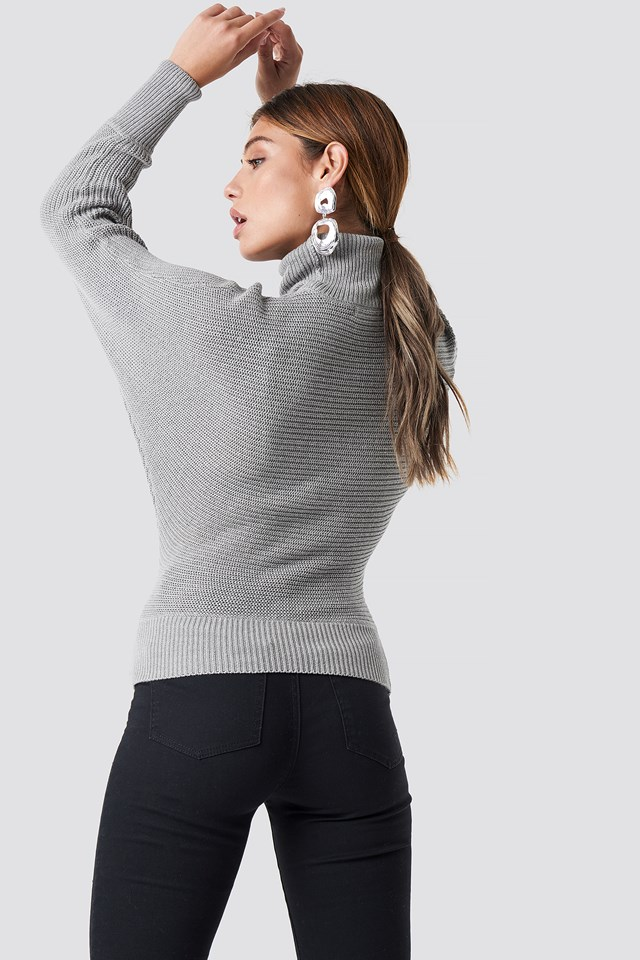 Folded Knitted Sweater Grey
