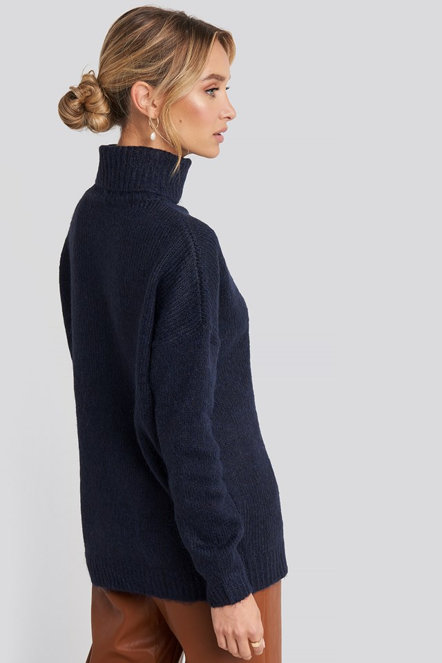 Folded Oversized Knitted Sweater Navy