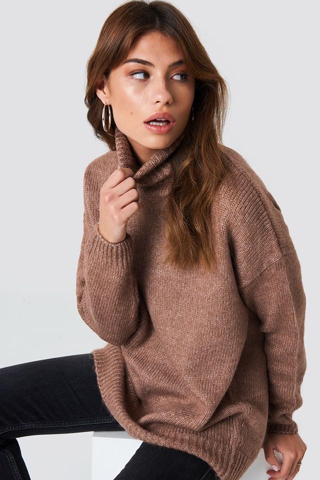 Folded Oversized Knitted Sweater Dusty Dark Pink