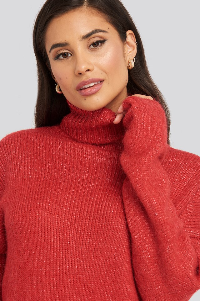 Folded Oversized Knitted Sweater Red