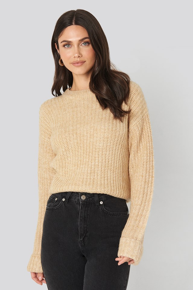 Folded Sleeve Round Neck Knitted Sweater Beige