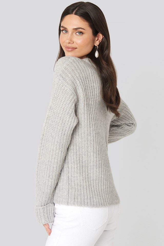 Folded Sleeve Round Neck Knitted Sweater Grey