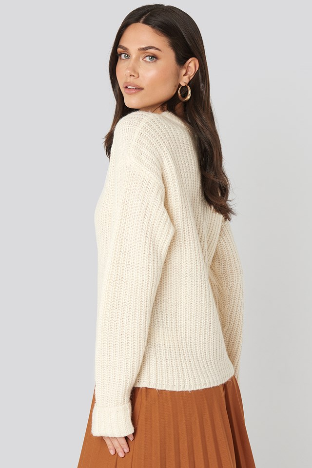 Folded Sleeve Round Neck Knitted Sweater Offwhite
