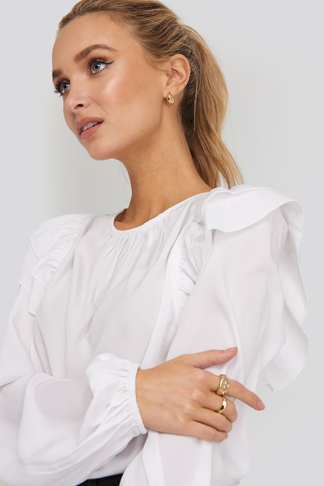 Frill Blouse White