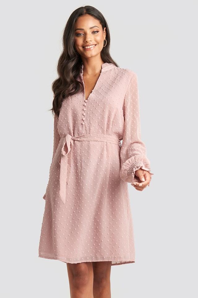Frill Neck Dobby Dress Dusty Pink