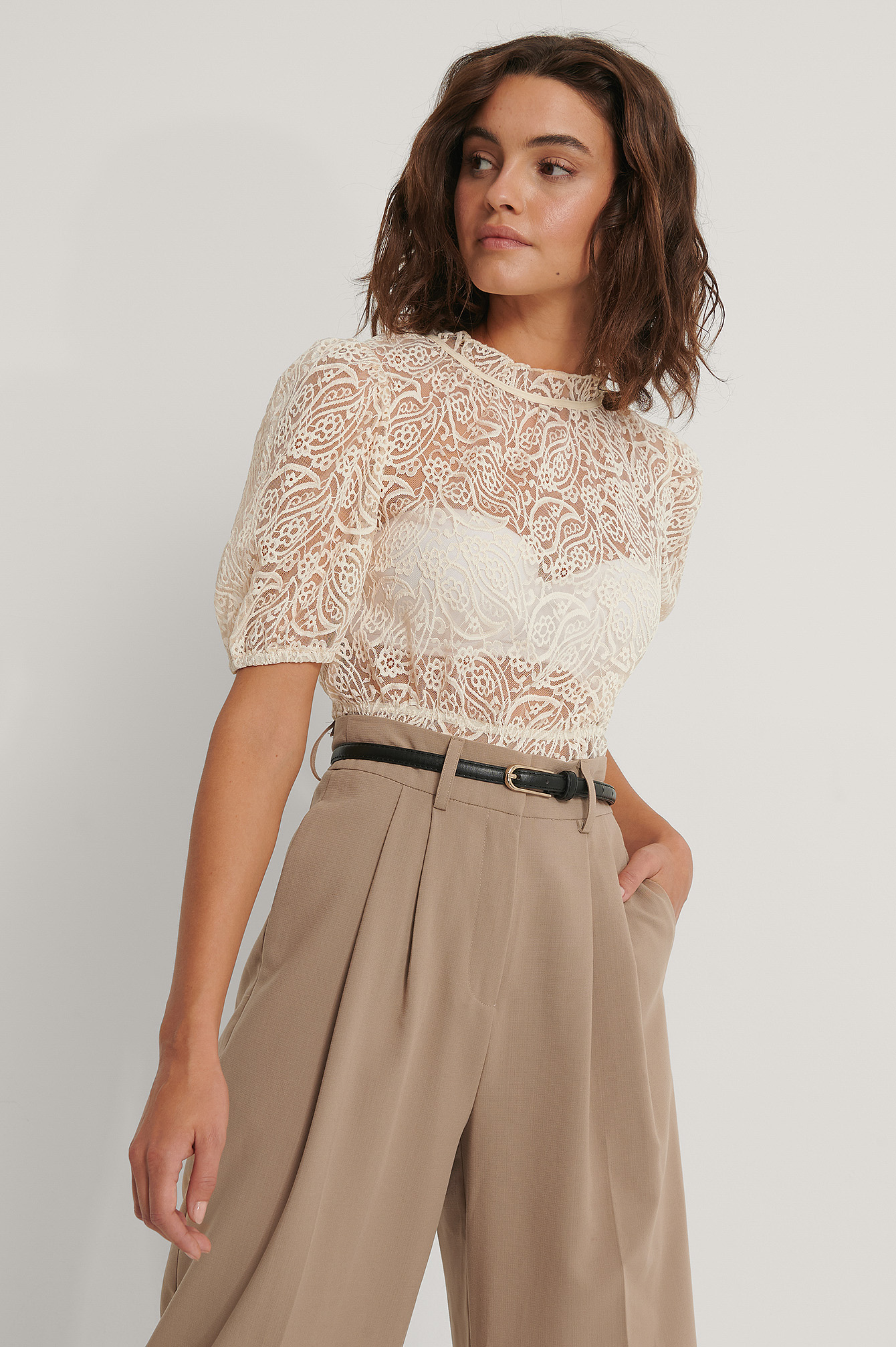 Beige Frill Neck Lace Top