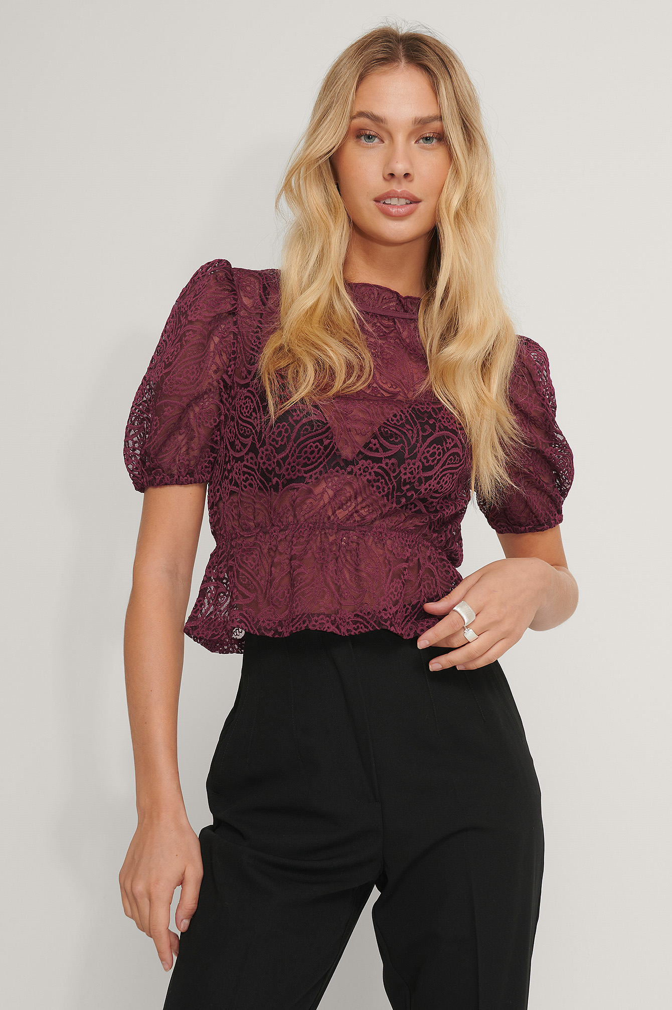 Burgundy Frill Neck Lace Top