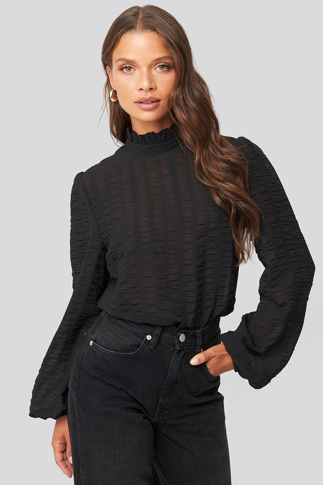 Frill Neck Structured Blouse Black