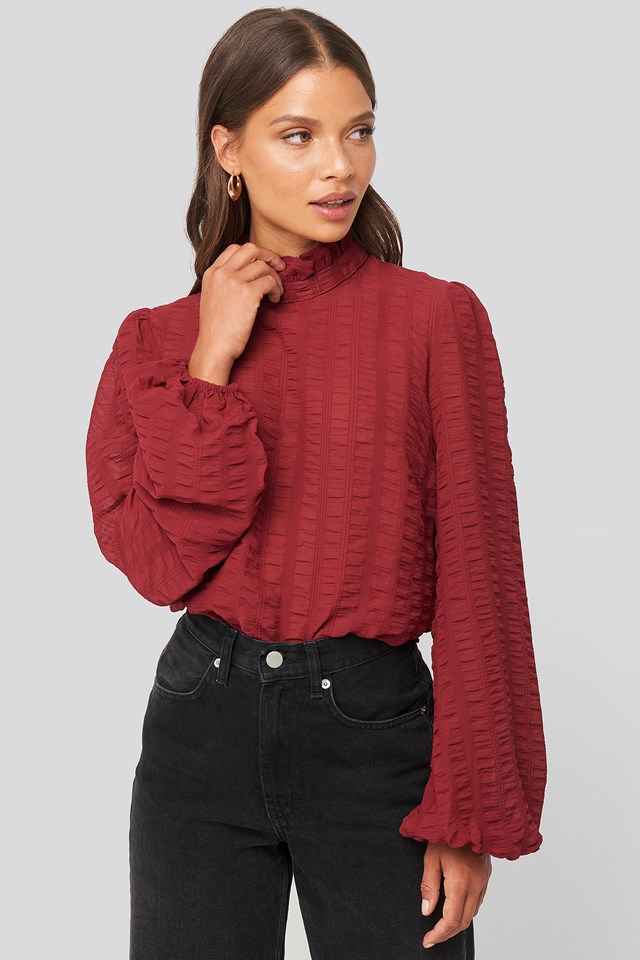Frill Neck Structured Blouse Burgundy