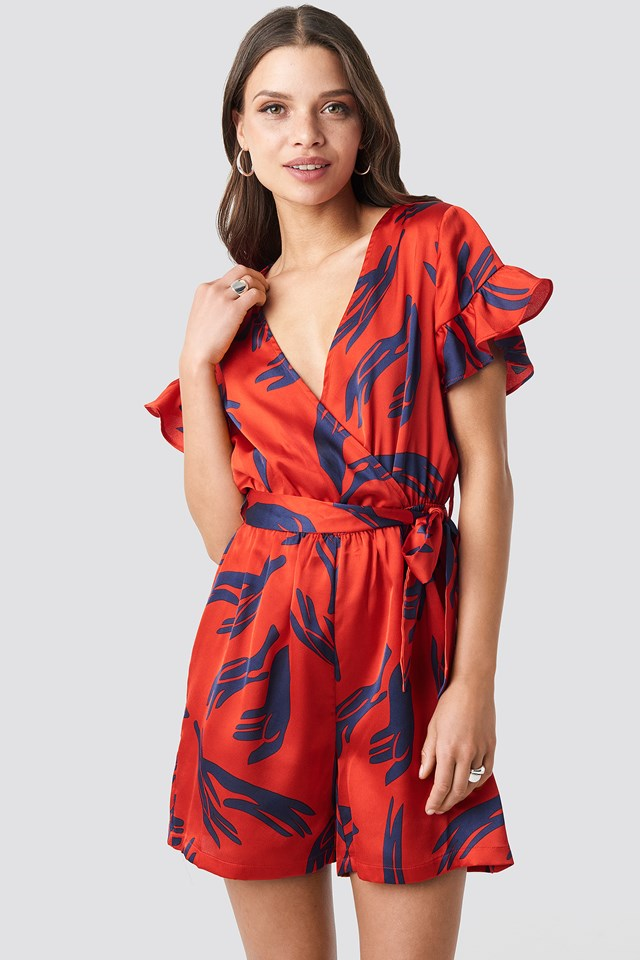 Frill Sleeve Printed Playsuit Red Print