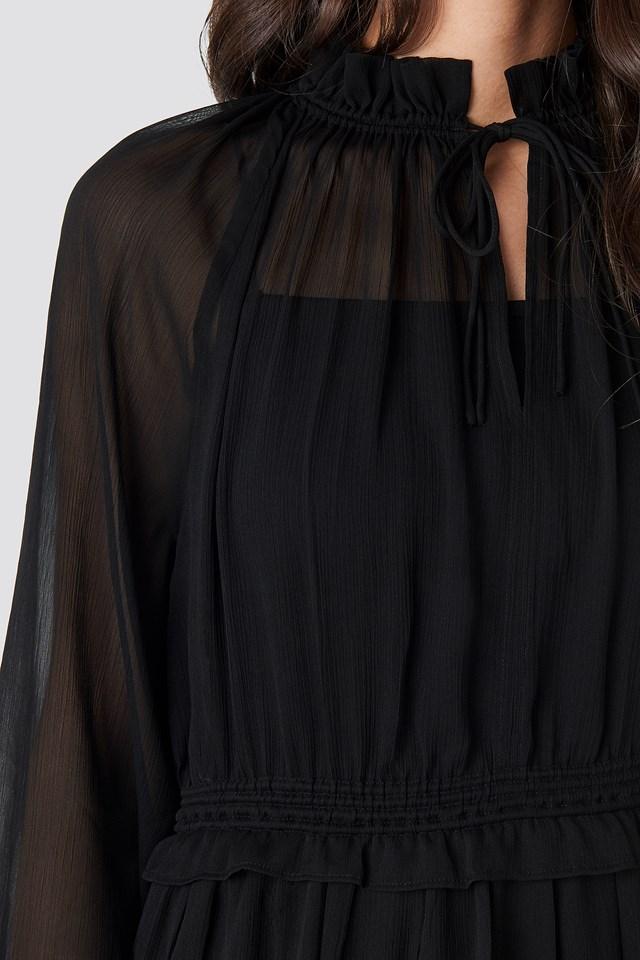 Frill V-Neck Chiffon Mini Dress Black